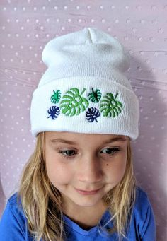 Monstera Palm Leaf Hat Gift, Adult Snow Hat, Ski Cap, Plant Lover Gift, Embroidered Tropical Floral Gift, Adansonii Swiss Cheese Plant Swiss Cheese Plant, Snow Hat, Embroidered Leaves, Christmas Gifts For Coworkers, Hat Stands, Unisex Fashion, Gift For Lover, Warm Weather, Knitted Hats