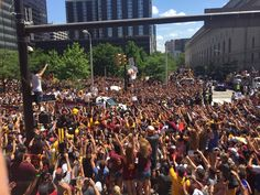 The crowd continues to cheer on their NBA champs in downtown Cleveland #cavsparade