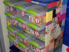 Word Work is one of the components of The Daily Five.  The tubs on the selves contain things such as playdoh, letter stamps, scrabble tiles, letter tiles, gloves (for clapping out syllables), magnetic letters, and some other fun things.  The kids will choose what to use, and work with independently during their word work time.  To eliminate too many choices, closed and open signs - that stick on with Velcro - have been attached so the children will know what is available for them to use.