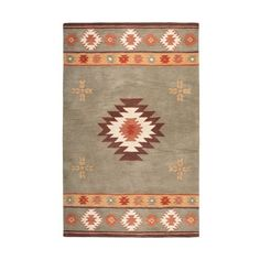 Rizzy Home SU2008 Southwest Hand-Tufted Wool Rug Green 2 x 3 Home ($60) ❤ liked on Polyvore featuring home, rugs, home decor, southwestern wool rugs, green wool rug, border rug, tufted rugs and wool rugs