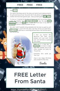 Fantastic Photographs Free Santa Letter Printable Thoughts FREE Santa Letter for a child, personalized and ready to print immediately. Free Printable Santa Letters, Free Letters From Santa, Personalized Letters From Santa, Letter Templates Free, Message From Santa, Christmas Letter From Santa, Christmas Letter Template, Christmas Printables, Letter From Santa Template