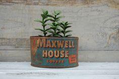 Maxwell House Coffee Tin Rusty Coffee Tin by SweetPetuniaVintage