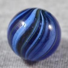 """RARE MINT EARLY GERMAN BLUE GLASS SUBMARINE TYPE BANDED OVERLAY MARBLE 25/32"""""""