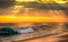 Обои wave, природа, sea, море, sunset, волны, вода, water, океан, ocean, sky, nature, закат