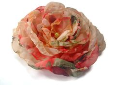 Coral Orange Peach Green and Cream Chiffon Flower, Wedding Hair Flower