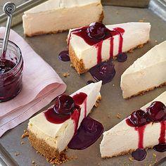 Vanilla Cheesecake with Cherry Topping Recipe | MyRecipes.com Mobile
