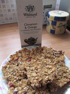 Energising flapjacks made with Cinnamon & Orange tea infused cranberries