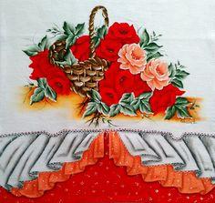 Pano de copa (cesta de rosas)   Pintura em tecido e CIA   Elo7