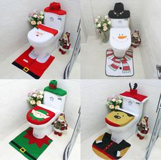 Xmas Santa Claus Toilet Seat Cover Rug Bathroom Set Christmas Home Decor Diy Christmas Videos, Simple Christmas, Christmas Home, Christmas Crafts, Easy Christmas Decorations, Holiday Decor, Decor Crafts, Home Decor, Diy Gifts