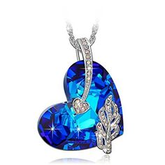 PAULINE & MORGEN Peacock Necklace for Women made with Blue Crystals from SWAROVSKI 3EHjV3UYkd