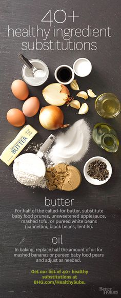 Find healthier substitutes to make your recipes even more delicious! Click through here: http://www.bhg.com/recipes/healthy/healthy-substitutions/?socsrc=bhgpin090214healthysubstitutes