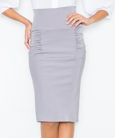 Take a look at this FIGL Gray Side-Ruch Pencil Skirt today!