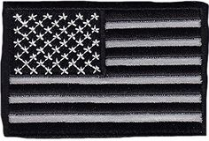 """[Single Count] Custom, Cool & Awesome {3"""" x 2"""" Inches} Small Rectangle Military Armed Forces Stars and Stripes National American Flag (Tactical Type) Velcro Patch """"Gray & Black"""" mySimple Products"""