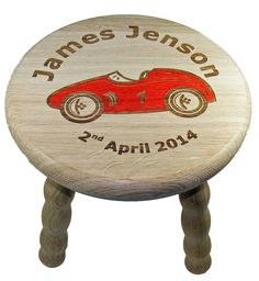 Personalised Child's Racing Car Wooden Stool