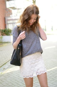This skirt is beautiful! The loose sweater and the way it falls over the top of the skirt works really well.