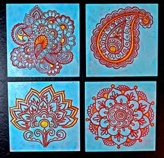 Custom+Indian+Henna+Motif+Paintings+6x6++Set+of+4+by+trueimage,+$120.00