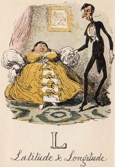 """L: Latitude & Longitude"" from ""A Comic Alphabet"" by George Cruikshank (1836)"