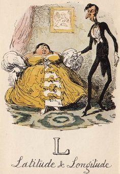 """L: Latitude & Longitude"" from ""A Comic Alphabet"" by George Cruikshank (1836)"