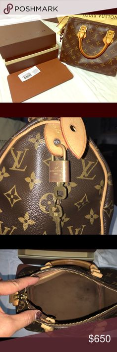 Luitton Vuitton Speedy 25,used normal wear & tear Used Speedy 25, with original box... no cloth bag. Authentic, receipt available if you need to see a copy. Please no low balls, I will not respond.  Little stain bottom of purse, never tried to clean.... will throw in the base bottom for support. Louis Vuitton Bags
