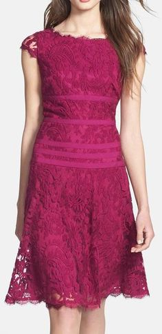 Adrianna Papell Lace Fit & Flare Dress: What a colorful and yet elegant leisurely bridal dress!