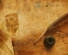 Quill and Pen PowerPoint Template: Quill and Pen, has old set of glasses and antique paper with writing.