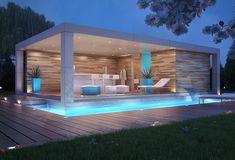 Top Home Design 96 Harmonious Pool Patio Design For The Modern Home 13 Small Pool Houses, Modern Pool House, Best Modern House Design, Small Modern Home, Modern Patio, Pool House Designs, Backyard Patio Designs, Patio Ideas, Pool Ideas