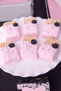 Dipped Rice Krispie treats at a Paris birthday party! See more party planning ideas at CatchMyParty.com!