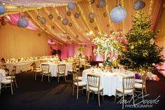 Heaton House Farm Wedding Venue, Cheshire, Paul Goode Photography, winter wedding, Christmas tree, baubles, wedding breakfast, Steeles Barn, dining,