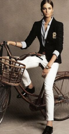 Bike Style Cicle Chic Ralph Lauren preppy look Style Work, Mode Style, Style Me, Style Casual, Preppy Style, Casual Chic, Preppy Casual, Preppy Ideas, Classic Style