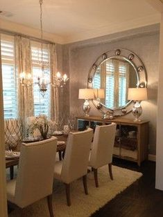 Add a rug under the table. I also like the mirror - makes it look classy and luxurious @Renegade Deen #FormalDiningRooms