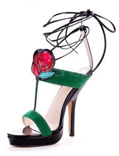Open Toe Suede Nap Color Block Stiletto Heel T-strap Sandals For Ladies