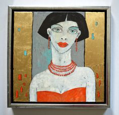 MIROSLAW HAJNOS - RED BEADS - oil on canvas 2016 - 30x30 cm / framed 34x34 cm - Private Collection