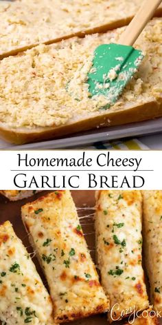 This homemade cheesy garlic bread has an easy buttery garlic spread, lots of hot, melted cheese, and a secret ingredient that everyone loves! dinner ideas for kids comfort foods Homemade Cheesy Garlic Bread Homemade Garlic Bread, Garlic Cheese Bread, Cheesy Garlic Bread, Garlic Breadsticks, Homemade Breadsticks, Healthy Garlic Bread, Italian Cheese Bread, Appetizer Recipes, Snack Recipes