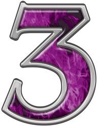 Reflective Number 3 With Inferno Purple Flames Alphabet