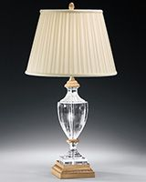 solid crystal table lamp with brass trim