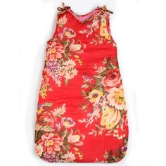 Red flower print baby sleeping bag or grow bag 2 tog by Bakker Made With Love