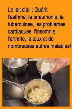 Le lait d'ail : Guérit l'asthme, la pneumonie, la tuberculose, les problèmes cardiaques, l'insomnie, l'arthrite, la toux et de nombreuses autres maladies! #Toux #Ail #Cardiaques #Maladies #Asthme #Arthrite #Problemes #Probleme #Insomnie #Lait #Maladie #Autres Food Videos, Squats, Cardio, The Cure, Remedies, Food And Drink, Health Fitness, Healing, Yummy Food