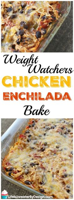 Weight Watchers Chicken Enchilada Bake is the perfect casserole for Cinco de Mayo! This hearty filling Weight Watchers dinner recipe is only 7 SmartPoints per serving! Spicy, next time will use mild enchilada sauce Poulet Weight Watchers, Weight Watchers Casserole, Plats Weight Watchers, Weight Watcher Dinners, Weight Watchers Chicken, Weight Watchers Recipes, Weight Watcher Points, Weight Watchers Enchiladas, Weight Watchers Pizza