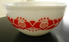 Vintage Retro Red Hearts Pyrex Glass Mixing Bowl 1960s | Old ...