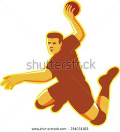 vector illustration of a hand ball player with ball  jumping throwing scoring done in retro style on isolated white background. #handball #retro #illustration