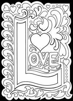 """Coloriage de la Saint-Valentin à imprimer : """"Love"""". A vos crayons !"""