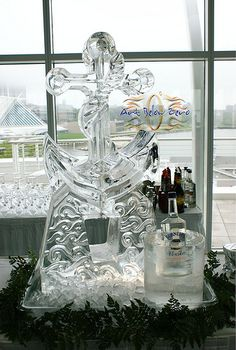 Navy Anchor Luge Ice Sculpture  _Weddings _Events _Luges