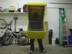 Chomping Pacman Costume. Initial video of my chomping Pacman costume. Come see how it was built over at Makezine Projects:  http://makeproje...