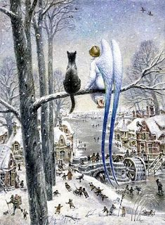 Cats in Art and Illustration: In Russia they say that if there is at least one cat on the roofs of any town, it means angels are there to protect all those who live there. Painting by Vladimir Rumyantsev Art And Illustration, Illustrations, Fantasy Kunst, Fantasy Art, Dark Fantasy, Image Chat, I Believe In Angels, Guardian Angels, Angel Art