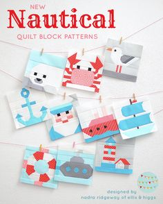 New nautical quilt patterns by Nadra Ridgeway of ellis higgs These cute quilt designs are perfect for beach house and coastal style decorating Anchor quilt block Captain. Quilt Baby, Nautical Baby Quilt, Nautical Pattern, Boys Quilt Patterns, Pattern Blocks, Pattern Sewing, Free Pattern, Cute Quilts, Boy Quilts