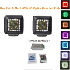 Night Break Light 40W 3x3 Inch 4D Cree Led Pods with Halo Ring Color Morph over 12 Colors by Remote Controller for SUV Boat 4 x 4 Jeep Lamp