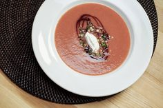 On a rhubarb kick lately... Krystal Cripe's Chilled Rhubarb-Strawberry Soup With Black Pepper Ricotta.