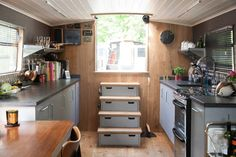 Check out this awesome listing on Airbnb: Central London House Boat, N1 - Boats for Rent in London Barge Interior, Boat Interior, Camper Interior, Interior Ideas, Narrowboat Kitchen, Rent In London, London House, Holiday Accommodation, Boat Design