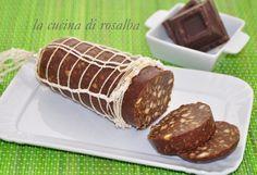salame di cioccolato senza uova, dolce veloce e semplice da preparare, simpatico da offrire agli amici, adatto per una merenda nutriente dei più piccoli