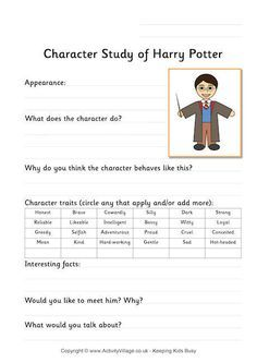 Harry Potter character study worksheet